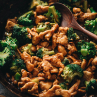 Stir fried chicken with broccoli close-up
