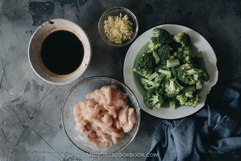 Ingredients to making chicken and broccoli