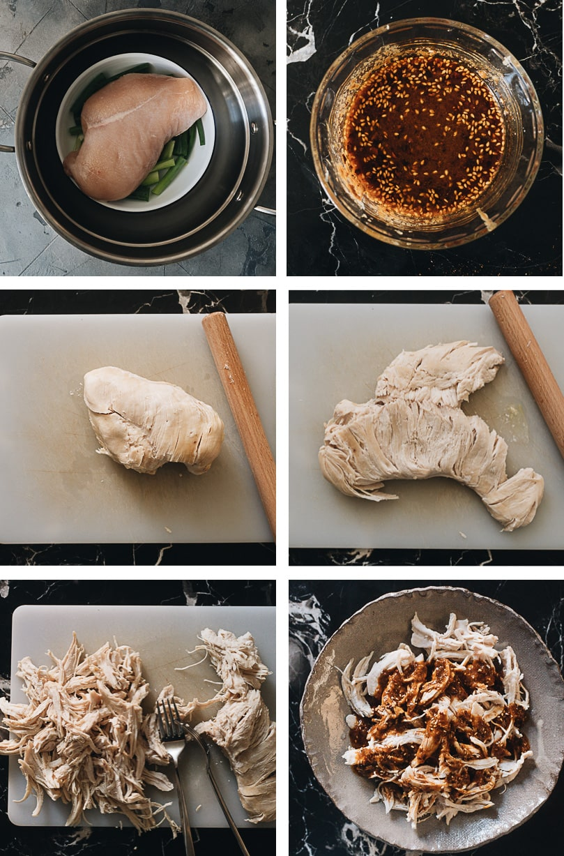 How to make Chinese bang bang chicken cooking step-by-step