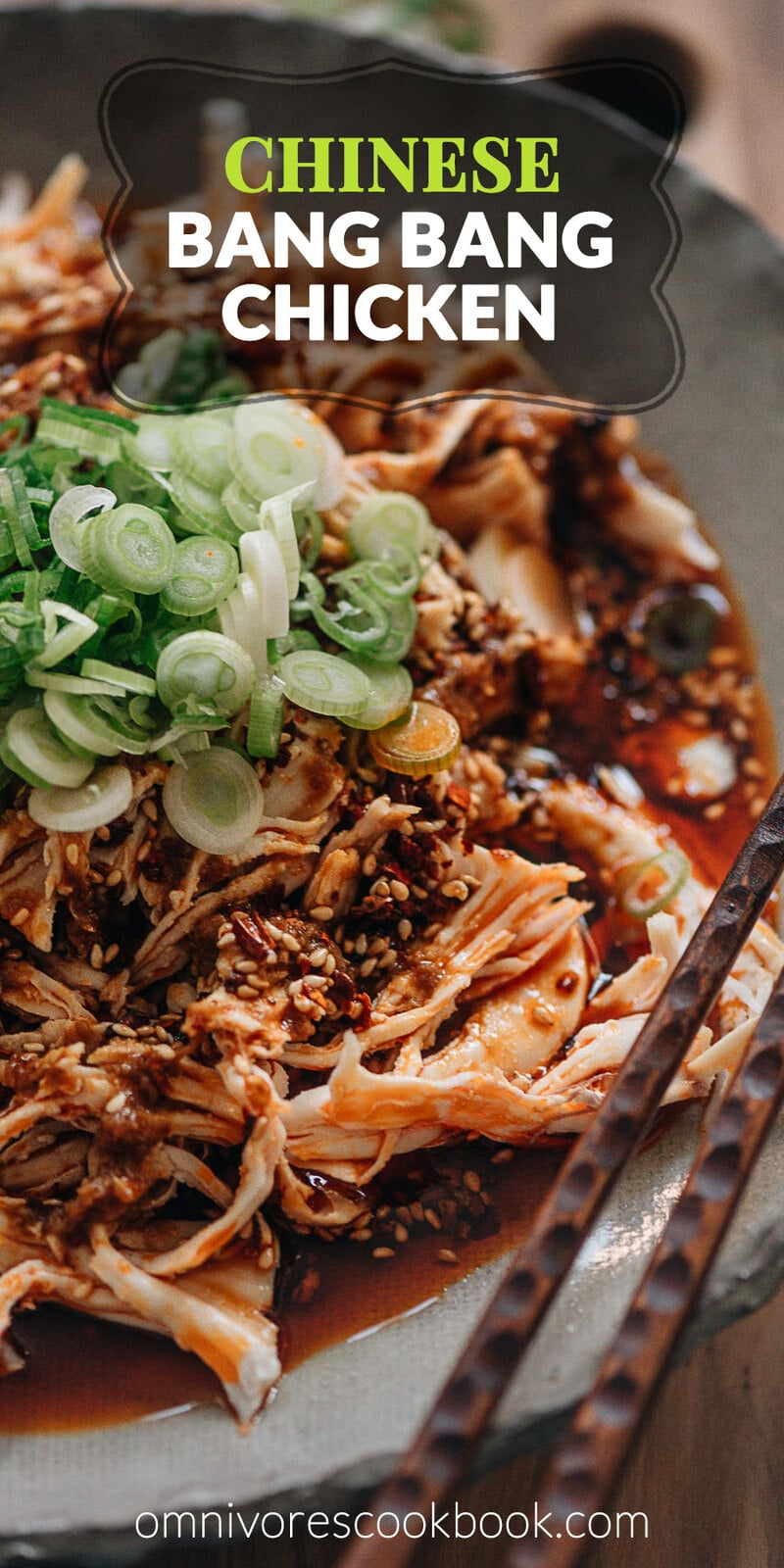 Chinese Bang Bang Chicken (棒棒鸡) - The real-deal Sichuan version of Bang Bang chicken made with juicy tender shredded chicken breast covered with a savory, nutty, spicy sauce with a hint of tangy and sweet notes. Originally a traditional Chinese appetizer, make it ahead and serve it at your next movie night or game day party. Mind blow guaranteed. {Gluten-Free Adaptable}