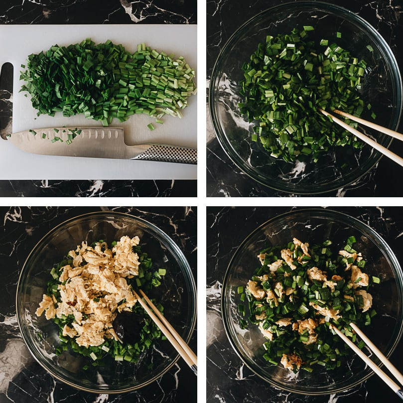 Chinese chive pockets filling prepping step-by-step