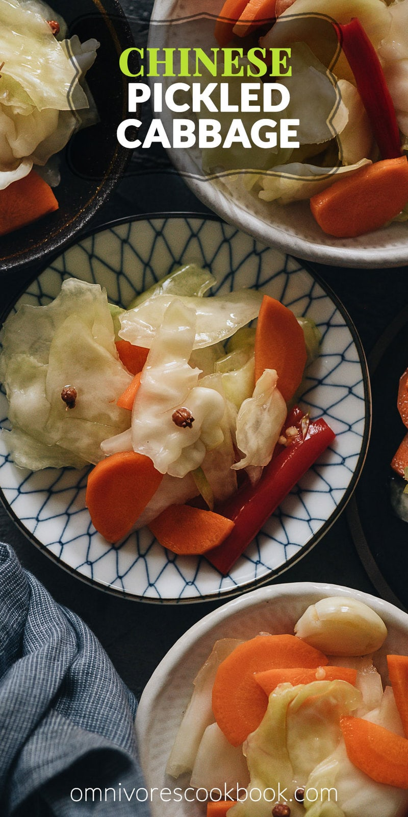 Chinese Pickled Cabbage (A Quick Pickle Recipe) | Make crunchy Chinese pickled cabbage with this quick pickle recipe. It is so easy to prepare, and the result is a well-balanced crisp sweet and sour pickle just like the appetizer you'd get at a Chinese restaurant. {Vegan, Gluten-Free}