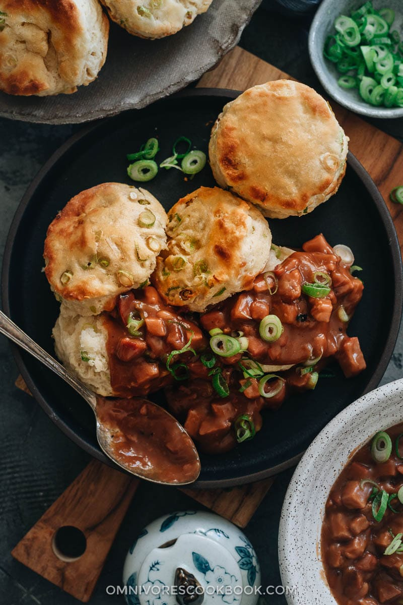 Scallion biscuits and char siu gravy