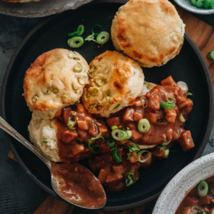 Scallion Biscuits & Char Siu Gravy | A Chinese-style take on an American breakfast favorite, this recipe pairs buttery crumbly biscuits with a richly flavored and decadent char siu gravy. It's a creative way of using the popular Chinese BBQ pork for a filling and quirky brunch.