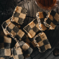 Sesame checkerboard cookies close-up