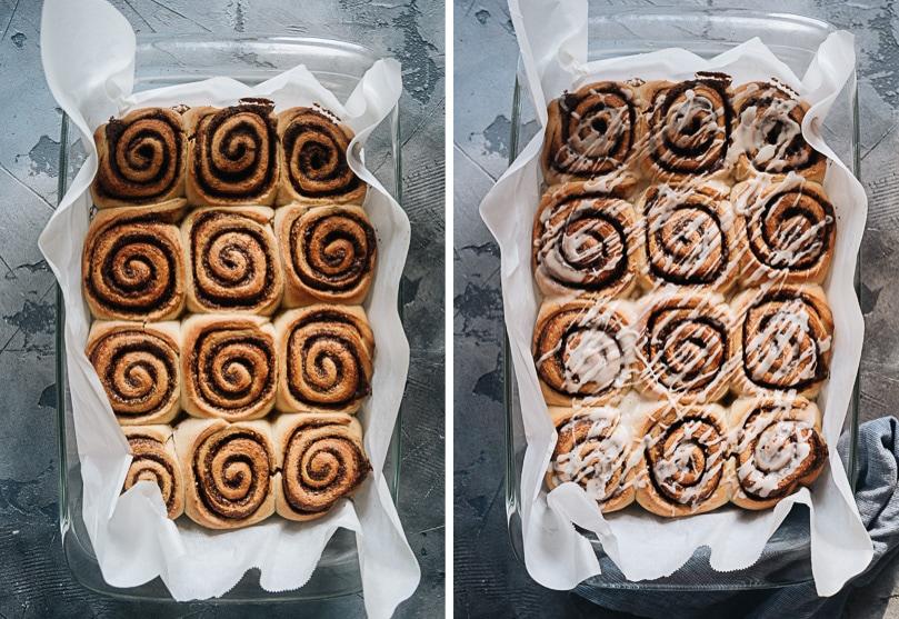 Glaze freshly baked cinnamon rolls