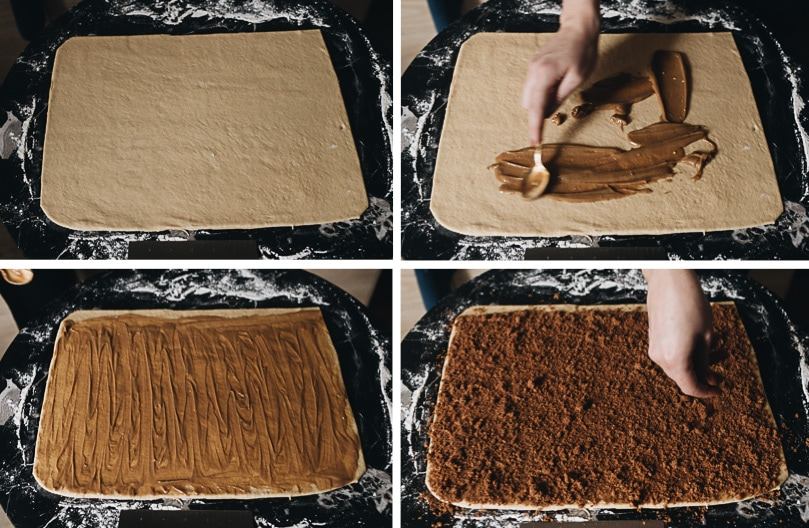 Adding filling for cinnamon rolls with sesame