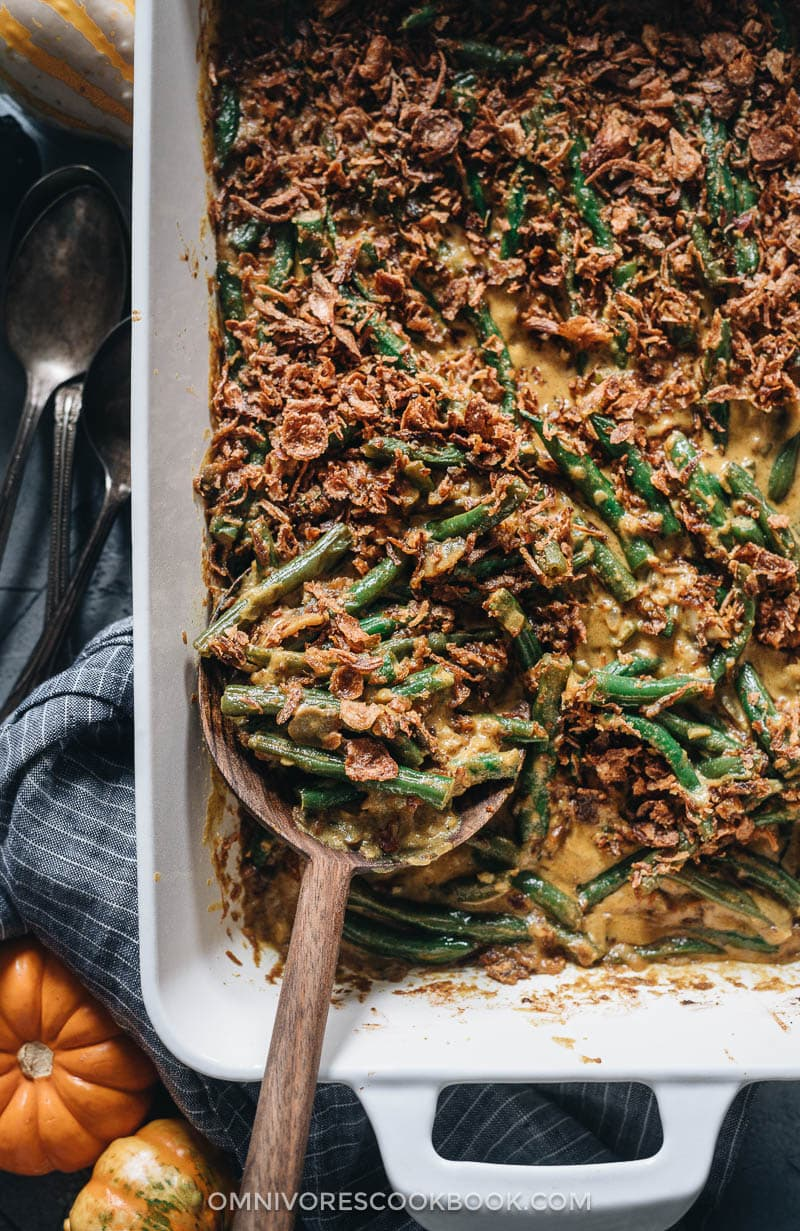 Curried vegan green bean casserole