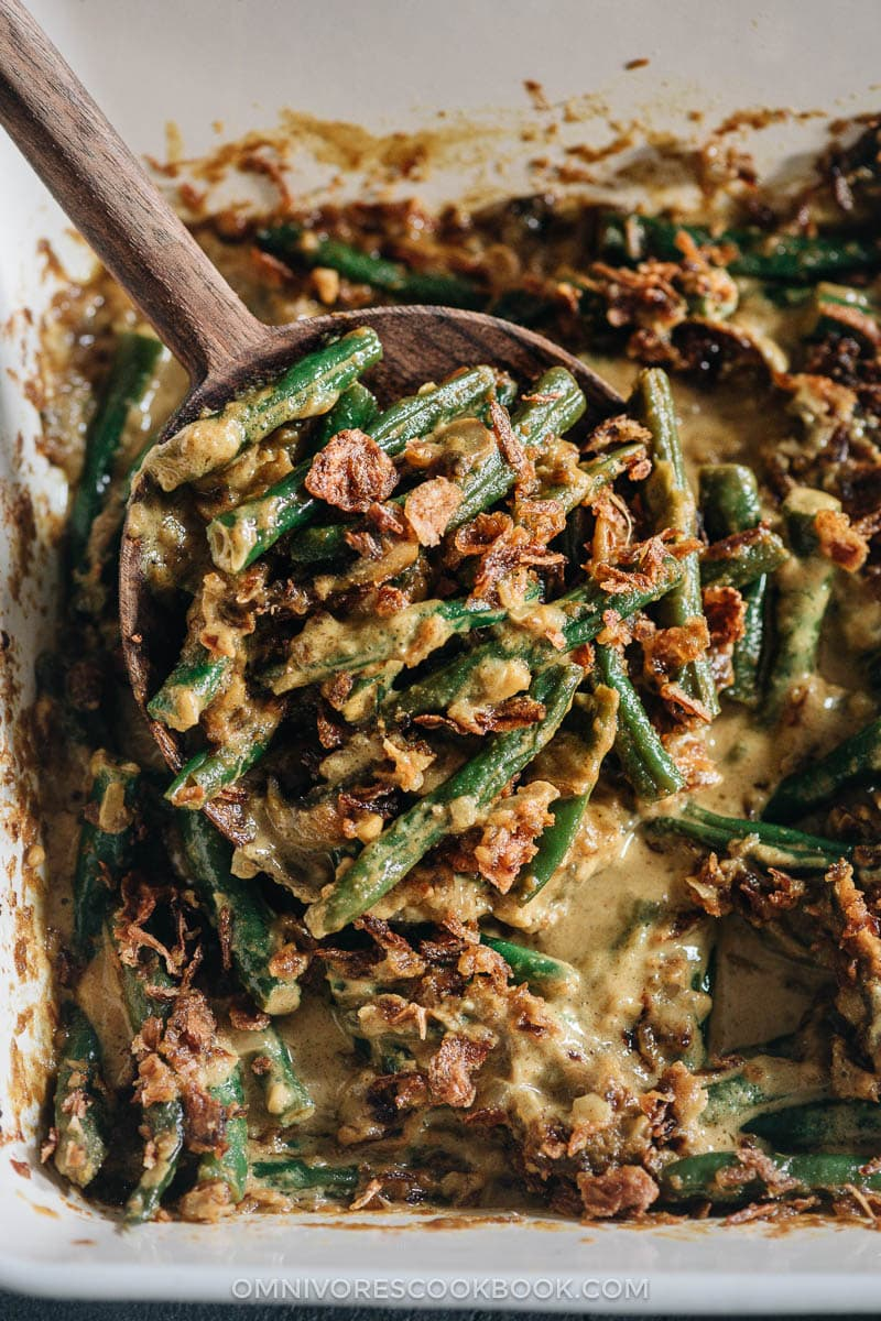 Curried vegan green bean casserole close-up