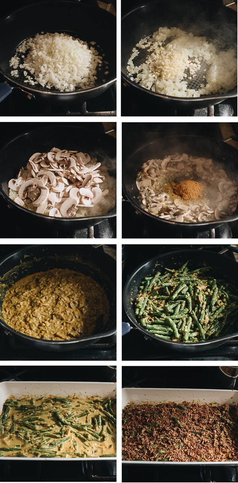 Curried vegan green bean casserole cooking step-by-step