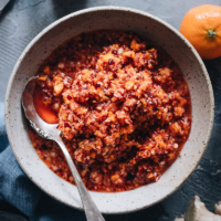 Cranberry Relish with Ginger | This no-cook tangy refreshing cranberry relish is perfect for your Thanksgiving dinner in place of the traditional cranberry sauce. It also makes a healthy alternative to fruit spread. It requires just 4 ingredients and 5 minutes to put together. {Vegan, Gluten-Free, Raw}