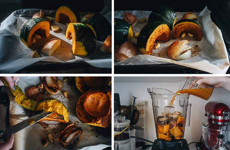 Roasted kabocha squash soup cooking step-by-step