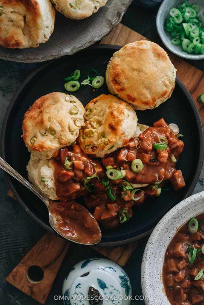 Asian-Inspired Thanksgiving Recipes | Scallion Biscuits And Char Siu Gravy