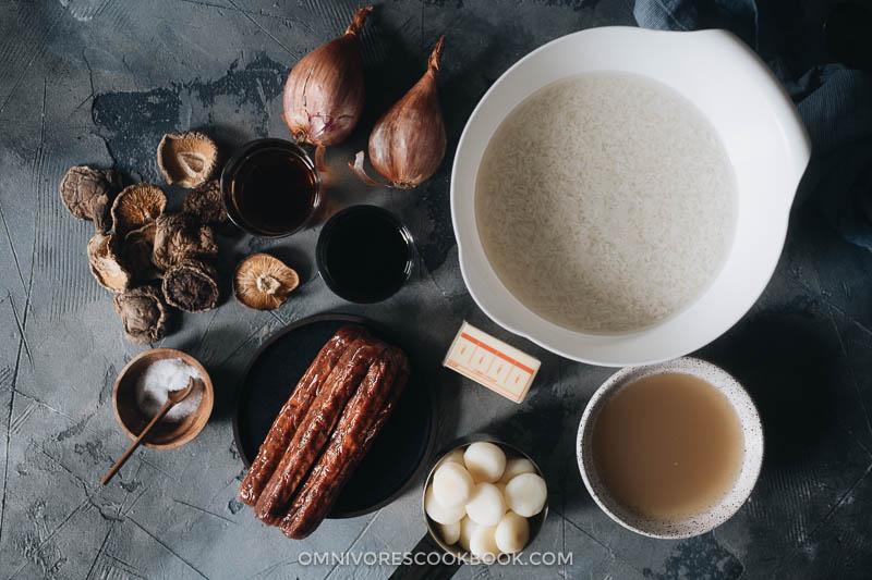 Ingredients for making sticking rice dressing