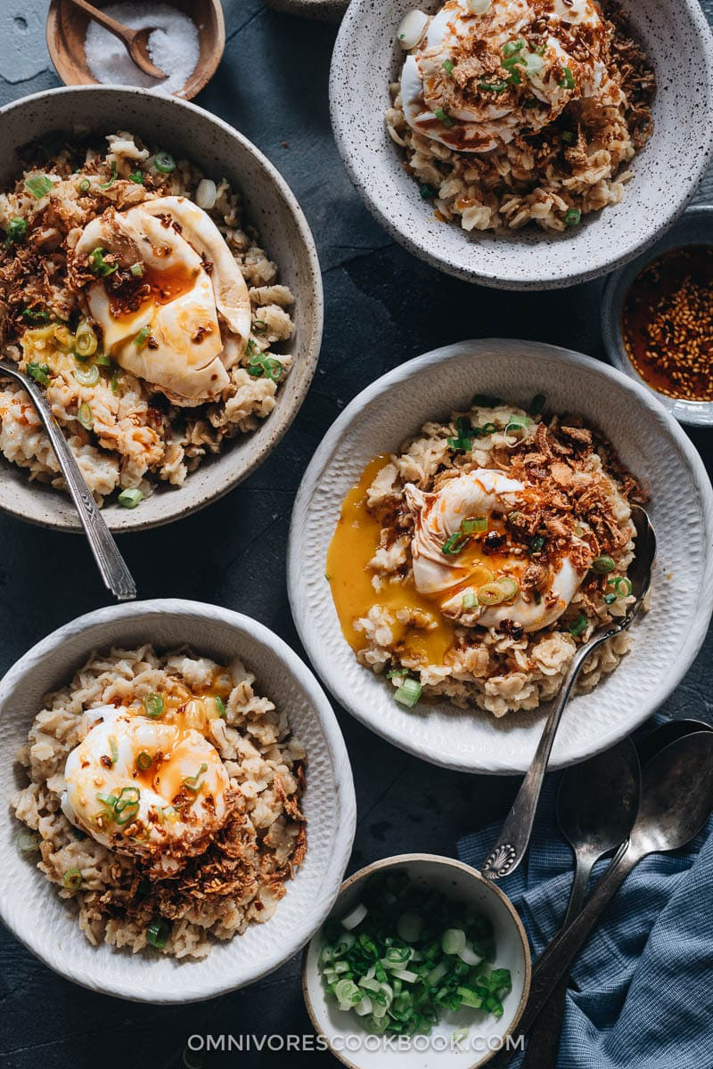 Savory oatmeal with runny eggs and fried shallots