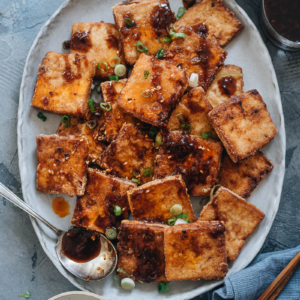 Crispy marinated tofu in a plate