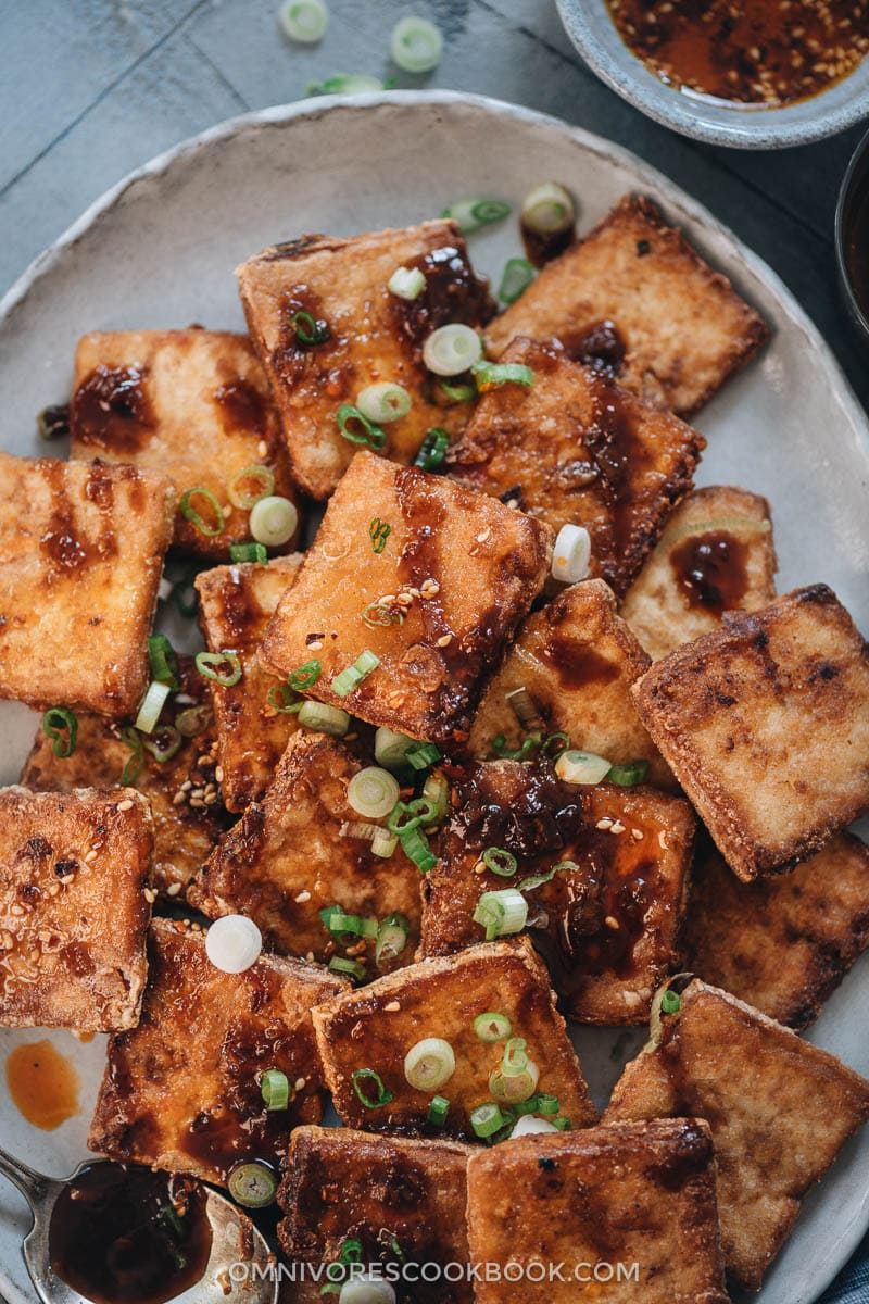 Crispy fried tofu closeup
