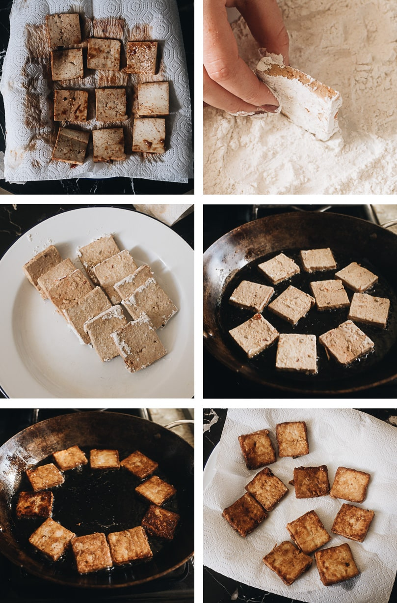 Crispy marinated tofu cooking step-by-step