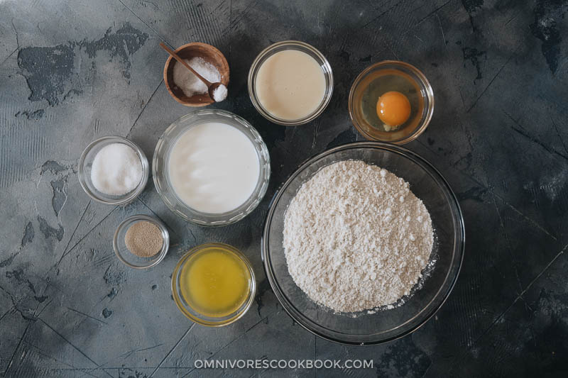 Ingredients of making milk bread rolls