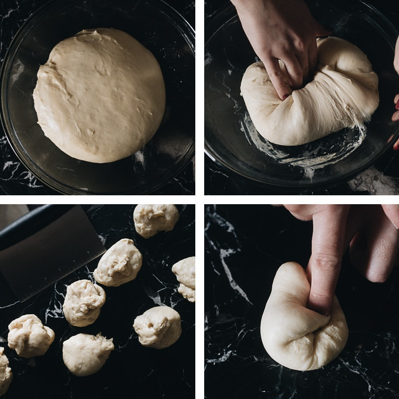 Shaping dough for milk bread rolls