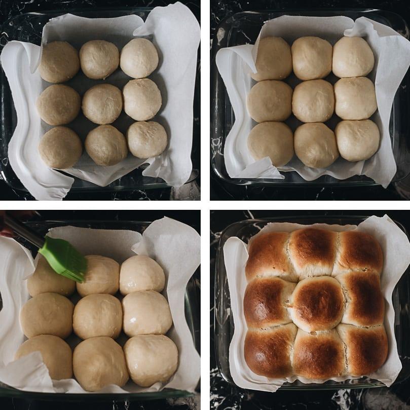 Baking milk bread rolls