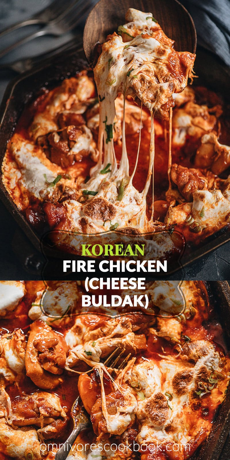 Korean Fire Chicken (Cheese Buldak) - It features chunky, juicy chicken swamped in a chili sauce with chewy rice cakes and melty cheese. It contains all the essence of a pizza and it's addictively good. It's extremely easy to put together and takes no time to make. If you're looking for a quick one-pan dinner recipe, look no further! {Gluten-Free adaptable}