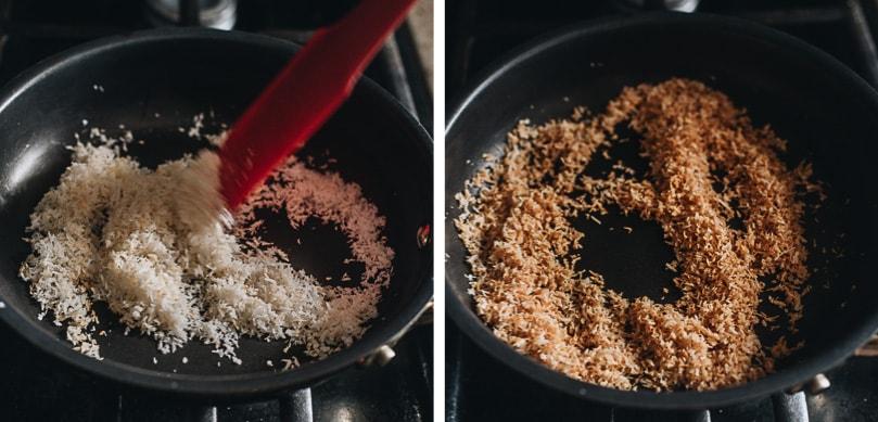 Making fried shredded coconut