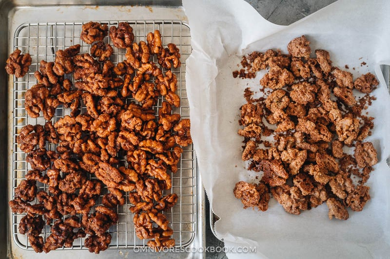 Comparison of deep fried and baked candied walnuts