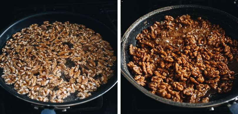 Cook walnuts with syrup on stove
