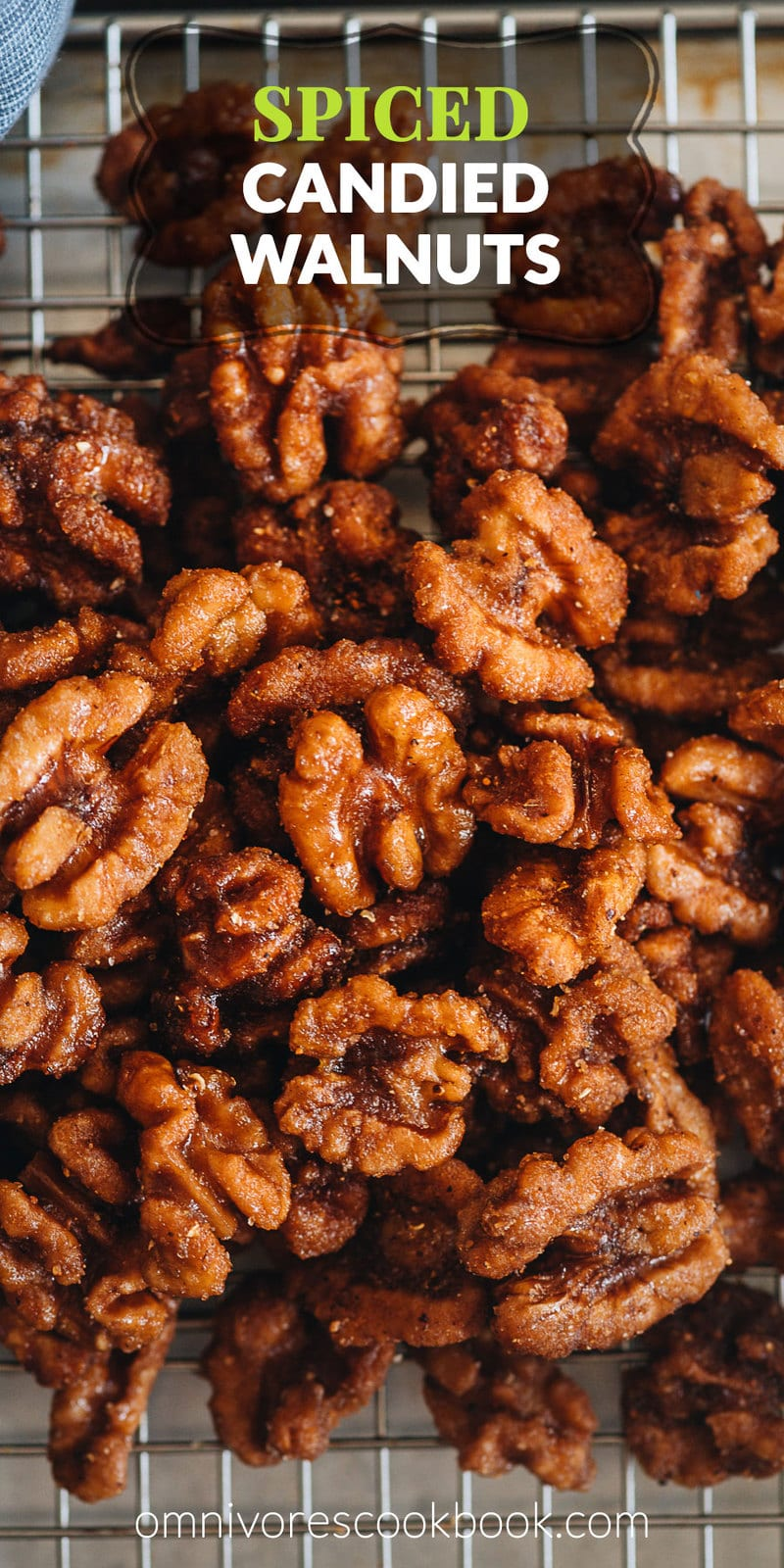 Candied Walnuts with Spice | This candied walnuts recipe yields gorgeously coated sugary, crunchy nuts with a Chinese-inspired spice mix to add a spicy savory touch. They are perfect for holiday gifting, topping on your salad, or simply serving as a snack. Both baking and stovetop methods are included in the recipe. {Vegan, Gluten-Free}