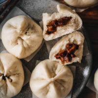 Char siu bao close-up