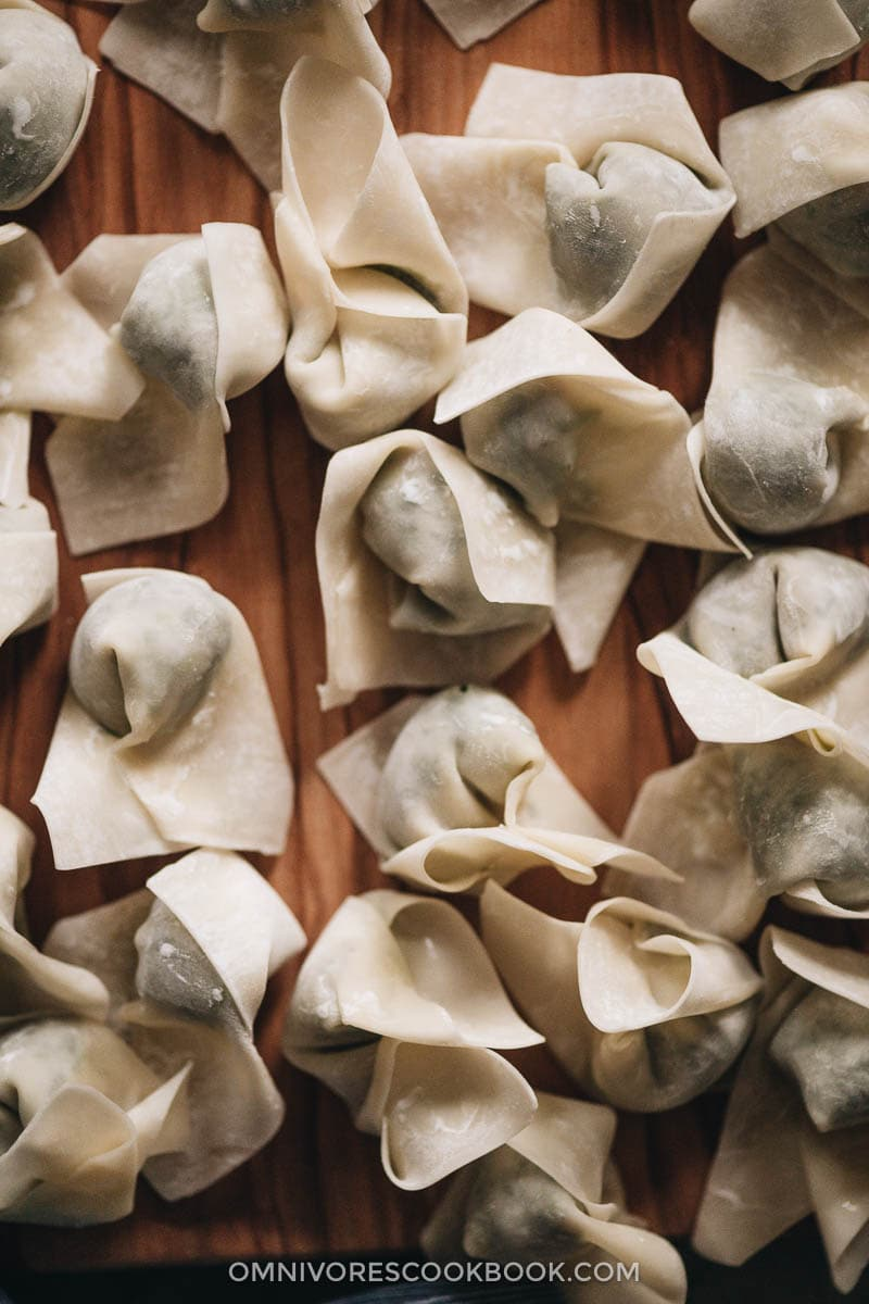 Uncooked wontons close-up