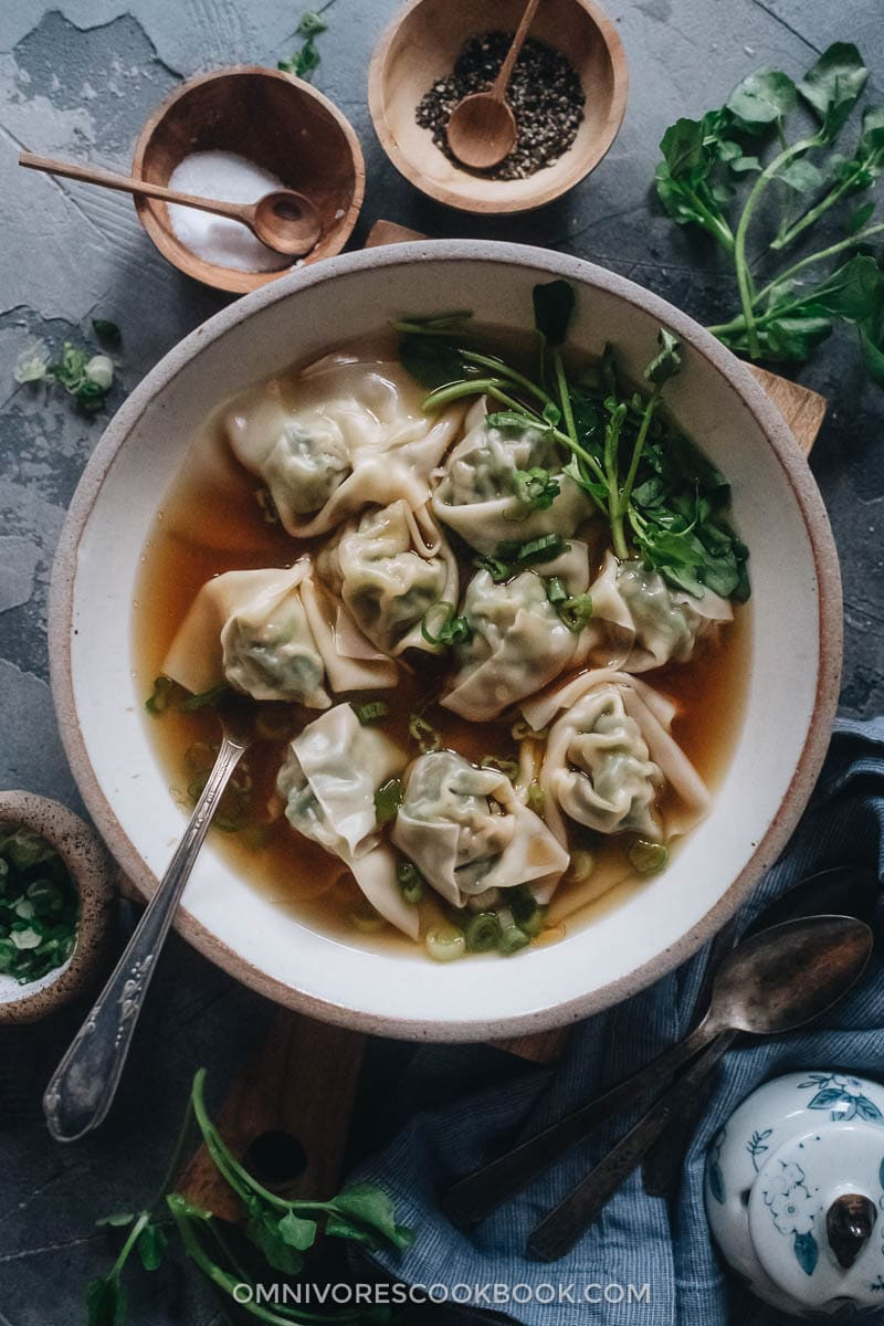Watercress wonton soup