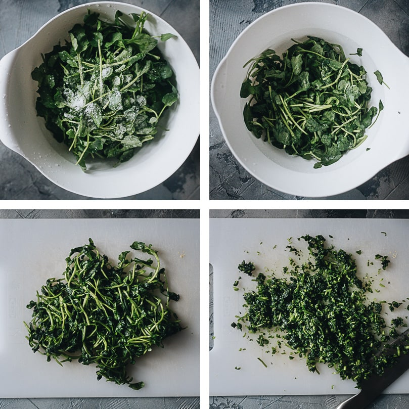 How to prepare watercress for wonton filling