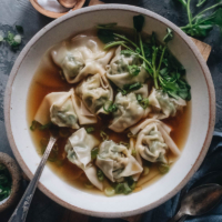 Watercress Wonton Soup | Hearty, healthy wontons made with crisp watercress and juicy pork, served in a quick and easy chicken broth. This post includes detailed step-by-step photos to help you create the authentic dim sum experience in your own kitchen.