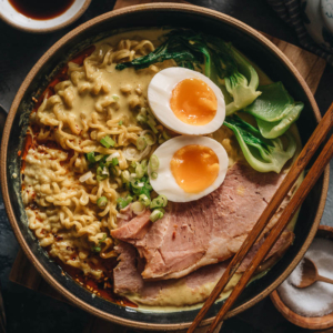 15-Minute Curry Ramen with Leftover Ham | A super easy recipe that turns your leftover ham into a scrumptious one-pot dinner. The curry broth is made with coconut milk, butter, and garlic to create a super rich texture that's bursting with flavor. I've included notes so you can tweak the recipe using ingredients you already have in your pantry. {Gluten-Free adaptable}