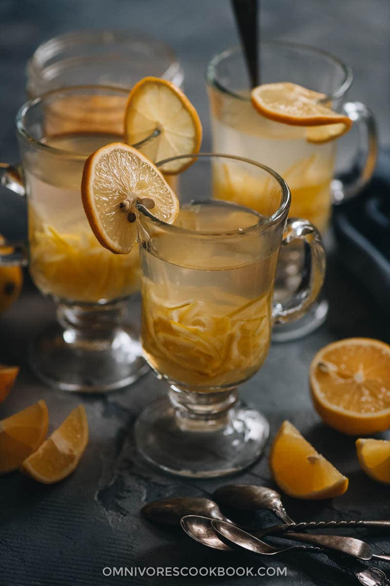 Homemade citron tea using meyer lemons