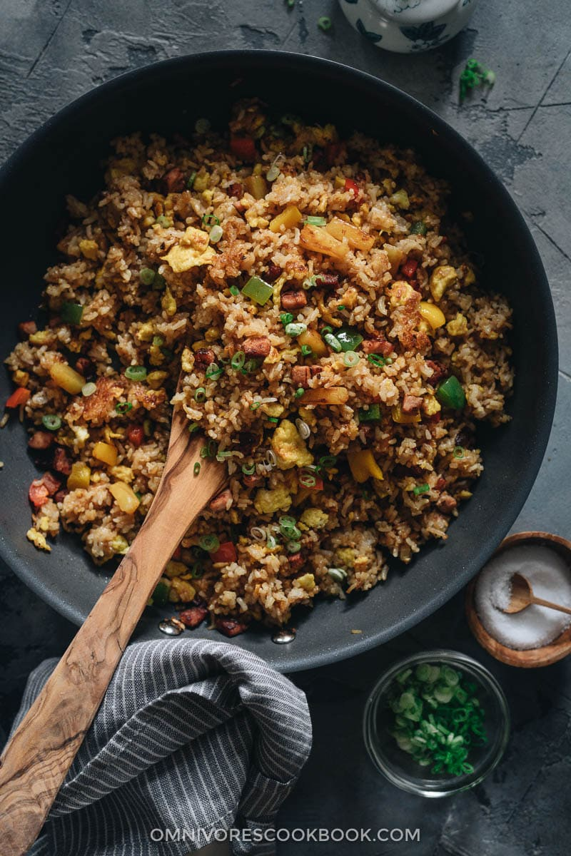 Ham fried rice with peppers