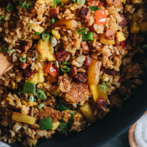 Ham fried rice close-up