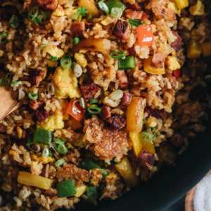 Leftover Ham Fried Rice with Pineapple | Turn your leftover ham into a quick meal that tastes better than Chinese takeout. Learn all the secrets to creating the best fried rice without a wok. {Gluten-Free}