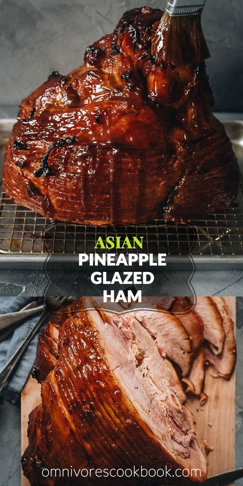 Asian Pineapple Glazed Ham | Try out this easy pineapple glazed ham if you want to make a traditional glazed ham with something new, while staying just as hearty and comforting. The glaze is made from brown sugar and pineapple juice, with a hint of gingery and garlicky taste, just like sweet chili sauce. It is a perfect centerpiece dish for holidays such as Christmas and Easter. {Gluten-Free Adaptable}