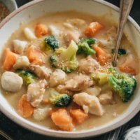 Creamy chicken sweet potato stew close-up