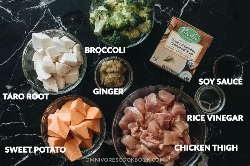 Ingredients for making chicken sweet potato stew