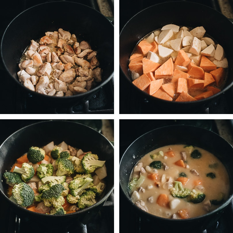 Chicken sweet potato stew cooking step-by-step