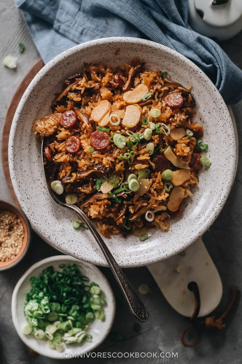 Chinese sausage rice in a bowl