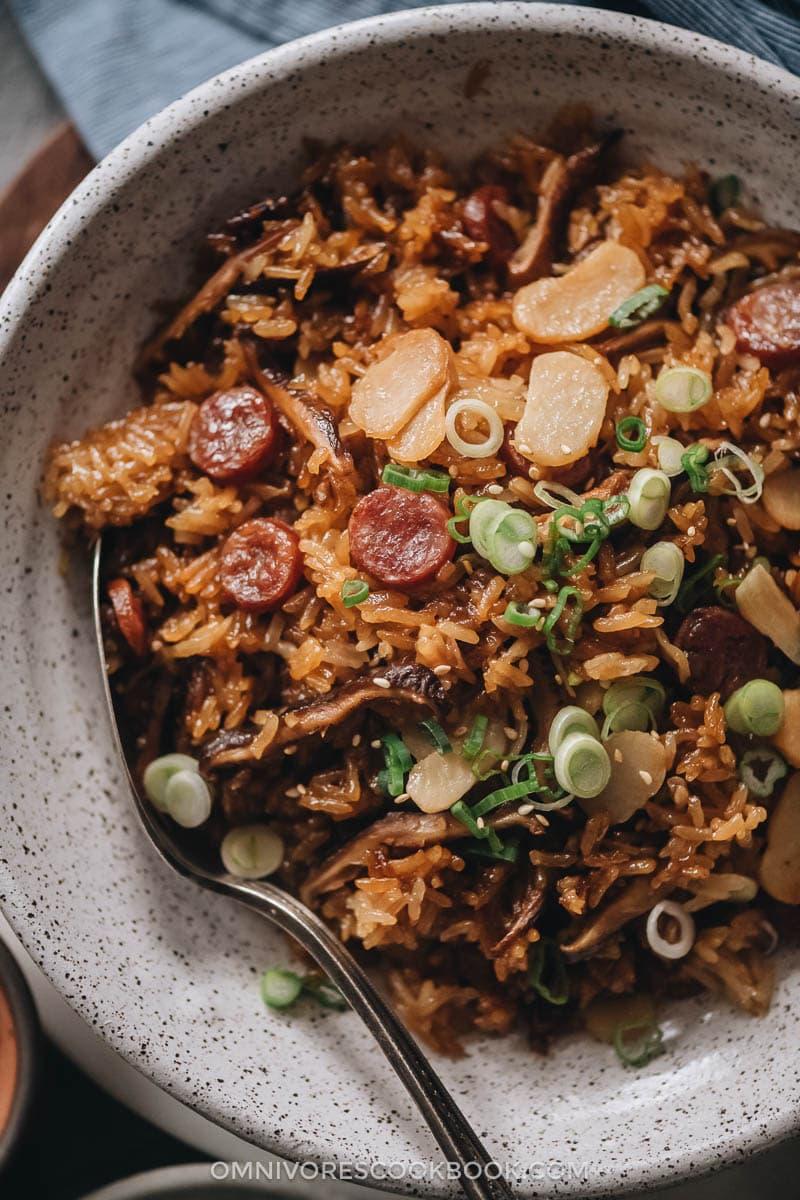 Chinese sausage rice close up