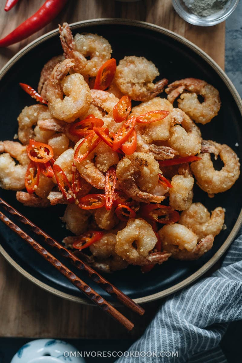 Salt and pepper shrimp in a plate