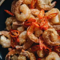 Salt and pepper shrimp close-up