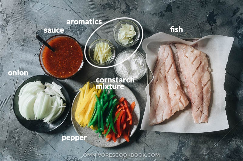 Ingredients for making sweet and sour fish