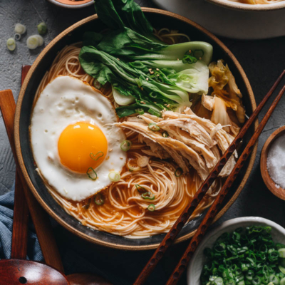 Korean noodle soup close-up